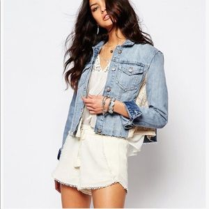 Free People NWOT Blue Lace Panel Jean Denim Jacket